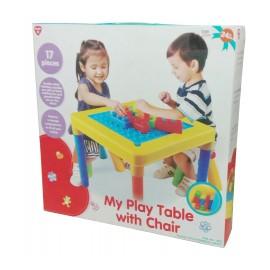 Playgo โต๊ะเก้าอี้พร้อมตัวต่อบล็อก (PG-2715)