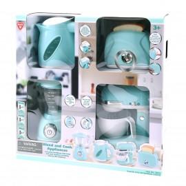 Playgo ของเล่นพัฒนาการ เซ็ตอุปกรณ์ทำอาหารสีฟ้า (กาต้มน้ำ,เครื่องปั่น,เครื่องปิ้งขนมปัง,เครื่องผสมแป้ง)(PG-38276)